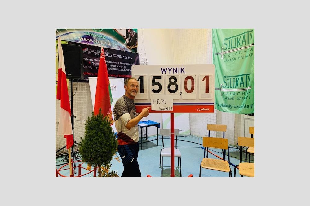 Wielkie Skakanie w Małych Barwicach, 11.10.2019, Dariusz Bednarski, Halowy Rekord Polski M65 - 158cm